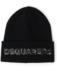 DSquared² - Ribbed Sequin Logo Beanie - Lyst
