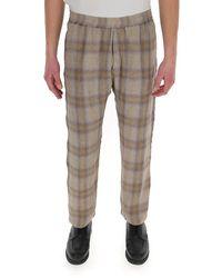 Barena Elasticated Waist Check Pants - Natural