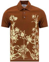 Ferragamo Floral Print Polo Shirt - Brown