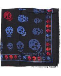 Alexander McQueen Colourful Skull Print Scarf - Blue
