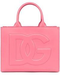 Dolce & Gabbana Logo Embossed Top Handle Tote Bag - Pink