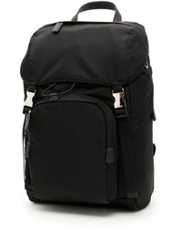 Prada - Logo Patch Buckle Backpack - Lyst