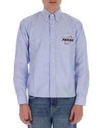 Prada Striped Shirt With Logo - Blue