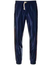 Gucci Web Shiny Jersey Trousers - Blue