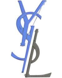 Saint Laurent Signature Logo Brooch - Blue