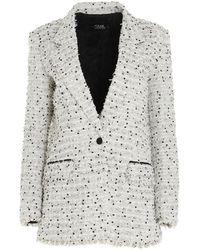 Karl Lagerfeld Oversized Bouclé Blazer - Multicolor