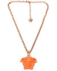 Versace Medusa Pendant Necklace - Orange
