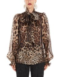Dolce & Gabbana Leo Print Sheer Organza Shirt - Brown