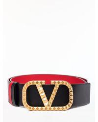 Valentino Garavani Vlogo Rockstud Reversible Belt - Black