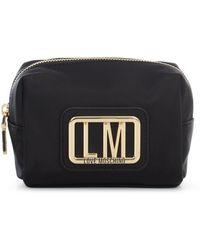 Love Moschino Logo Plaque Zipped Make-up Bag - Black