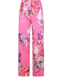 MSGM All-over Rooster Print Pants - Pink
