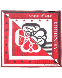 Alexander McQueen Graphic Printed Scarf - Red