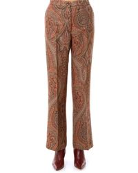Etro Flared Paisley Print Pants - Brown
