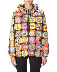 Moschino Graphic Print Hooded Bomber Jacket - Black