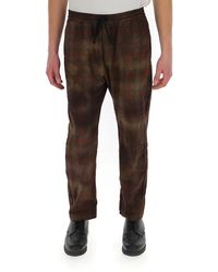 Barena Drawstring Waist Check Trousers - Brown