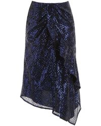 Self-Portrait Sequin Asymmetric Skirt - Blue