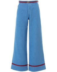Gucci Wide Leg Belted Jeans - Blue