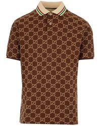 Gucci GG Embroidery Polo Shirt - Brown