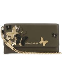 MICHAEL Michael Kors Butterfly Embellished Large Chain Wallet - Green