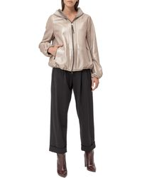 Brunello Cucinelli Hooded Metallic Leather Jacket - Natural