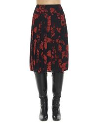 Tory Burch Floral Pleated Skirt - Black