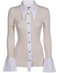 Ganni Embellished Button Rib-knit Top - White