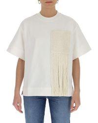 Jil Sander Woven Fringed Pocket T-shirt - White