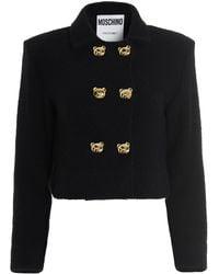 Moschino Teddy Bear Button Bouclé Jacket - Black