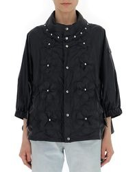 Moncler Flower Quilted Studded Detail Jacket - Black