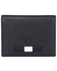 Bally Logo Plaque Foldover Wallet - Black