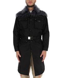 Prada Fur Trim Belted Coat - Black