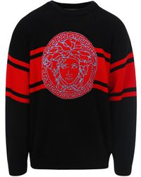 Versace Medusa Intarsia Knit Jumper - Black