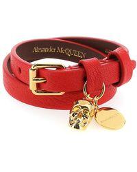Alexander McQueen Skull Wrap Bracelet - Red