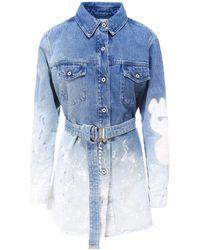 Off-White c/o Virgil Abloh Wash Effect Denim Shirt Dress - Blue