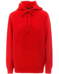 Versace Medusa Motif Hooded Jumper - Red