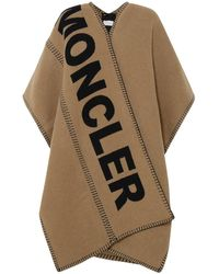 Moncler Logo Print Knitted Cape - Brown