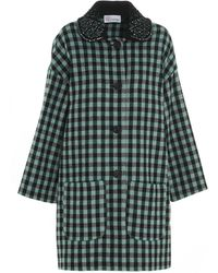 RED Valentino Redvalentino Embellished Collar Single-breasted Coat - Green