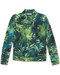Versace Jungle Print Denim Jacket - Green