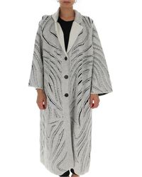 3.1 Phillip Lim Oversize Frayed Straight Coat - Gray