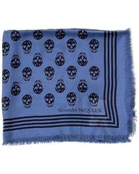 Alexander McQueen All Over Skull Scarf - Blue