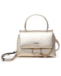 Chloé Gold Leather Top Handle Bag - Metallic