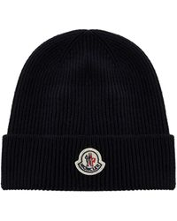 Moncler Logo Patch Knitted Beanie - Blue
