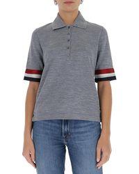 Thom Browne Rwb Trim Polo Shirt - Grey
