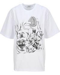 MSGM Cats Print T-shirt - White