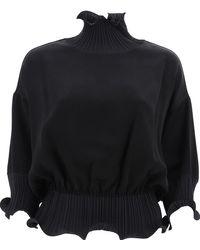 Givenchy Frilled High Neck Sheer Blouse - Black