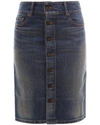 Saint Laurent Buttoned High Rise Denim Skirt - Blue