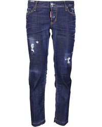 DSquared² Distressed Cropped Jeans - Blue