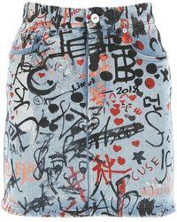 Burberry Stretch Denim Mini Skirt - Blue