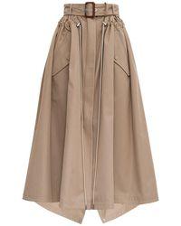 Alexander McQueen Beige Cotton Skirt With Belt - Multicolour