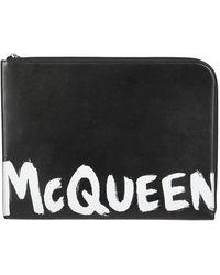 Alexander McQueen Logo Printed Clutch - Black